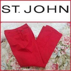 ST JOHN Sport Marie Gray RED COTTON STRECH PANTS